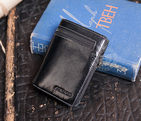 WL256-1 Мужское портмоне из черной натуральной кожи с молнией