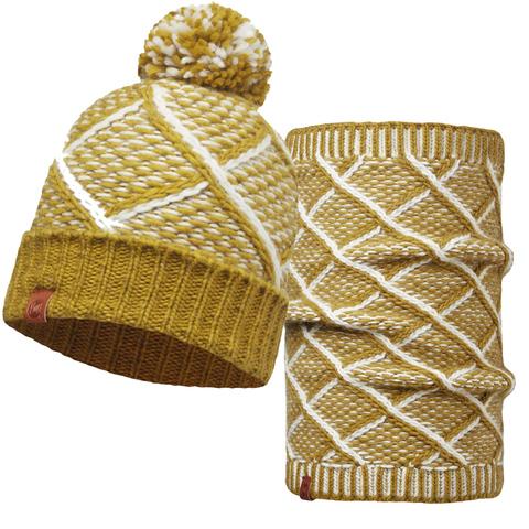Комплект шапка шарф вязаные Buff Plaid Tobaco