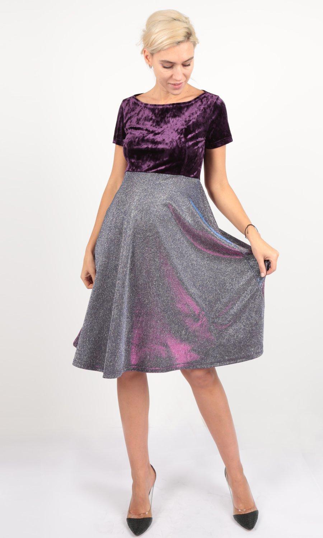 f52b2bd8c11e Евромама. Платье для беременных праздничное велюр люрекс, фиолетовый