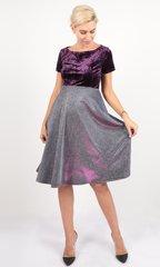Евромама. Платье для беременных праздничное велюр люрекс, фиолетовый
