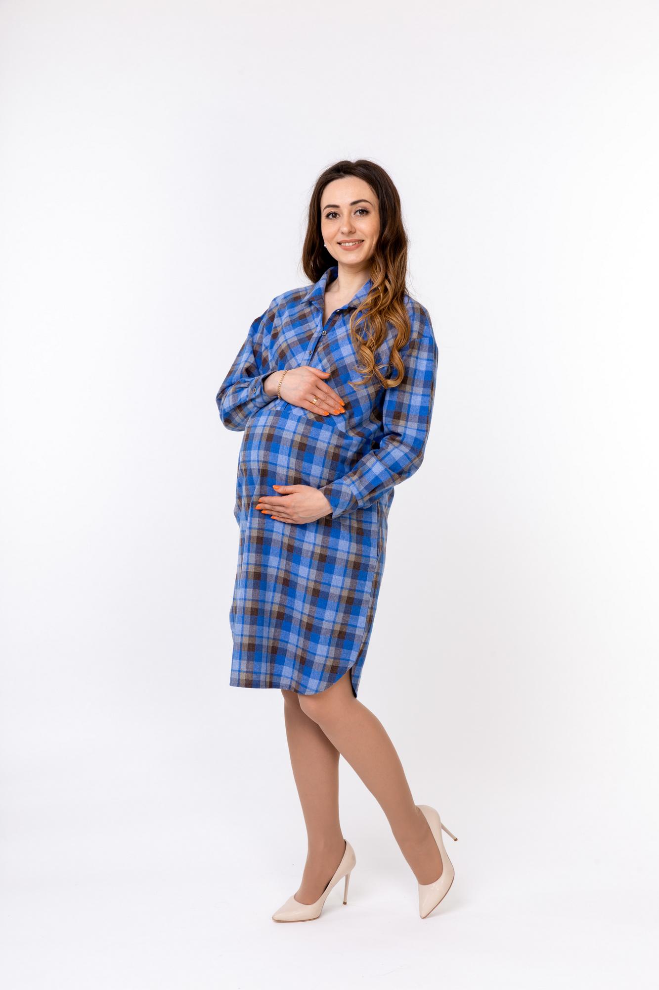 Платье для беременных и кормящих 10161 синий
