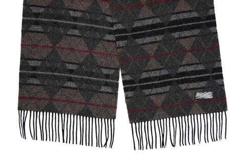 Шерстяной шарф, мужской коричнево-серый 30062