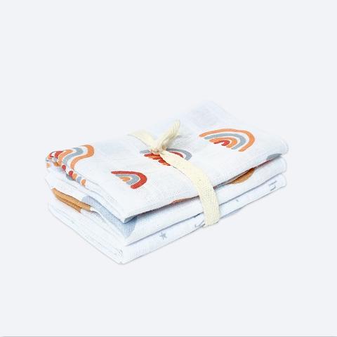 Сет из 3х муслиновых салфеток Mjölk Радуги