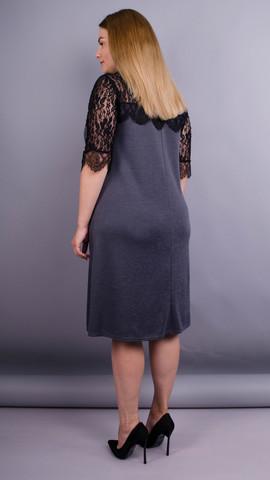Лайза. Практичное платье больших размеров. Серый.