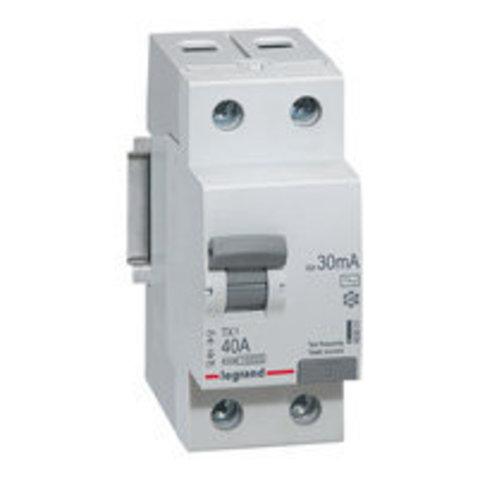 Выключатель дифференционного тока УЗО ВДТ TX - 2П - 40 А - тип AC - 30 мА - 2 модуля. Legrand (Легранд). 403001