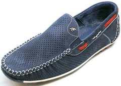 Летние мужские мокасины туфли мужские натуральная кожа Faber 142213-7 Navy Blue.