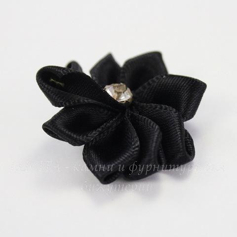 Цветочек черный со стразом 30 мм ()