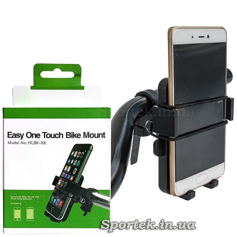 Крепление для смартфонов на руль велосипеда HLBK-X6 (на руле и упаковка)