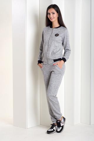 Женский спортивный костюм на змейке. Серый