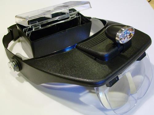 Бинокулярные монтажные очки MG81001-A с дополнительными линзами. Фонарик на козырьке