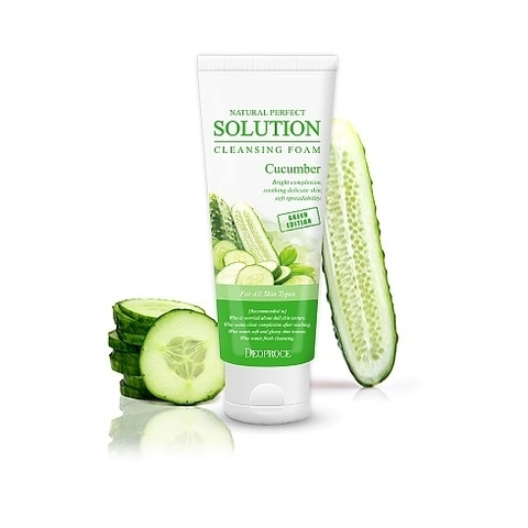 Deoproce FOAM Пенка для умывания огурец NATURAL PERFECT SOLUTION CLEANSING FOAM GREEN EDITION CUCUMBER 170гр
