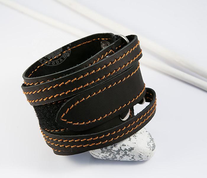 BL425-3 Широкий мужской браслет напульсник из кожи, ручная работа, «Boroda Design» фото 05