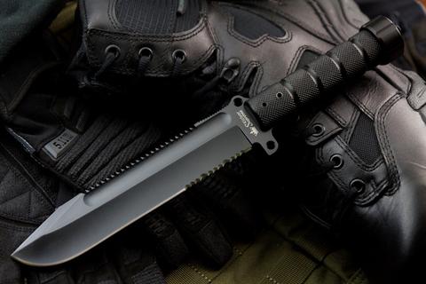 Охотничий нож Survivalist AUS-8 Black Titanium