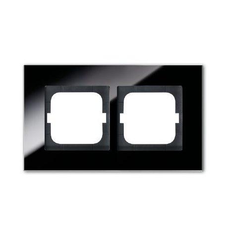 Рамка на 2 поста. Цвет Чёрное стекло. ABB(АББ). Carat(Карат). 1754-0-4323