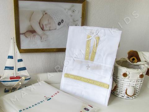 Классика 3 предмета, Крестильный набор для мальчика (белый/золото_0-3)