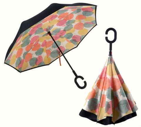 Купить онлайн Обратный зонт ReU Leaves (арт.RU-10) в магазине Зонтофф.