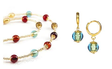 Комплект Carnavale Oro Piccolo (изумрудные серьги Piccolo, ожерелье)