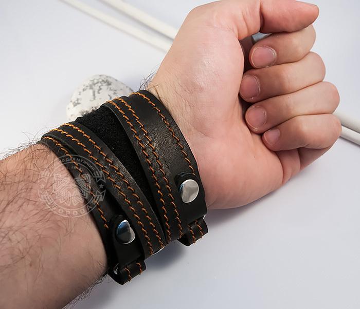 BL425-3 Широкий мужской браслет напульсник из кожи, ручная работа, «Boroda Design» фото 06