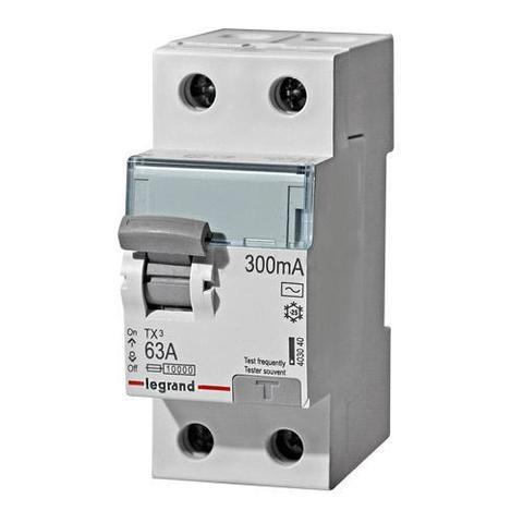 Выключатель дифференционного тока УЗО ВДТ TX - 2П - 63 А - тип AC - 300 мА - 2 модуля. Legrand (Легранд). 403040