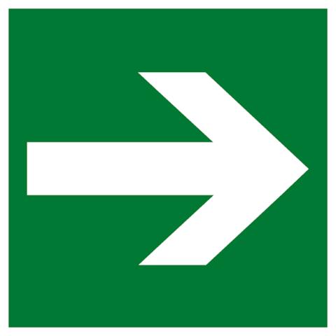 Эвакуационный знак Е 02-01 – Направляющая стрелка
