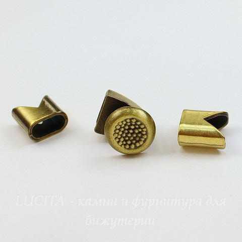 Замок для шнура 5 мм из 3х частей 16х14х13 мм, 13х13 мм (цвет - античная бронза)