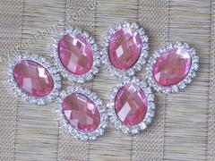 Камни овальные в стразовом обрамлении розовые