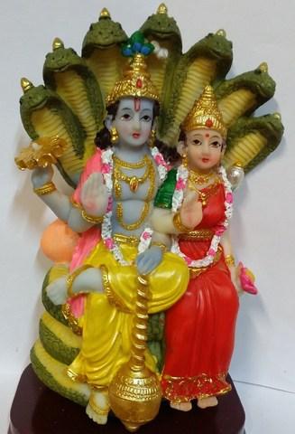 Статуэтка Вишну и Лакшми - семейное благополучие и процветание, полистоун 16 см