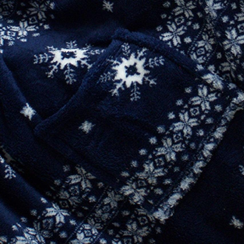 Зимний плед с рукавами из теплой плюшевой ткани с карманами - 4
