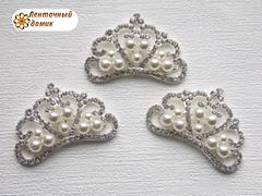 Серебряная корона с тройными жемчужинами №3