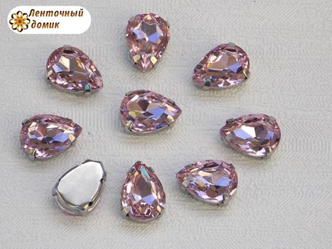 Камень капля в цапах 10*14 мм розовый