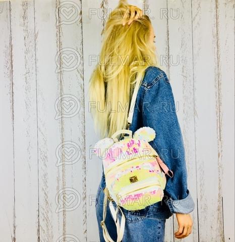 Рюкзак-сумка детский с ушами с пайетками меняющий цвет Перламутровый-Белый Мини