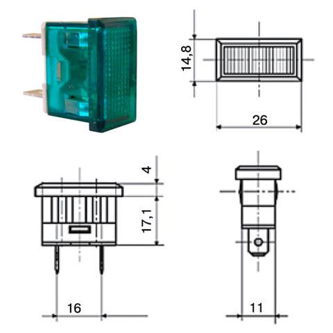 Лампа YL238-01 сигнальная зеленая неон 230В TDM