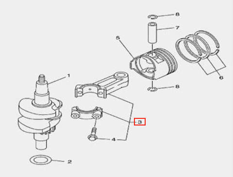 Шатун в сборе для лодочного мотора F5 Sea-PRO(3-3)