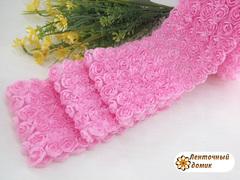 Ткань Розы на сетке розовая