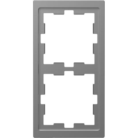 Рамка на 2 поста. Цвет Нержавеющая сталь. Merten D-Life System Design. MTN4020-6536