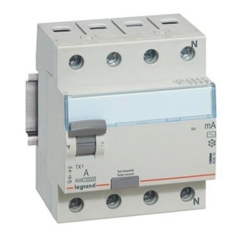Выключатель дифференционного тока УЗО ВДТ TX - 4П - 25 А - тип AC - 30 мА - 4 модуля. Legrand (Легранд). 403008