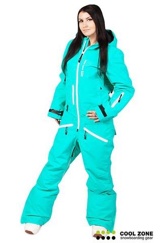 Сноубордический комбинезон женский Cool Zone бирюзовый 2712