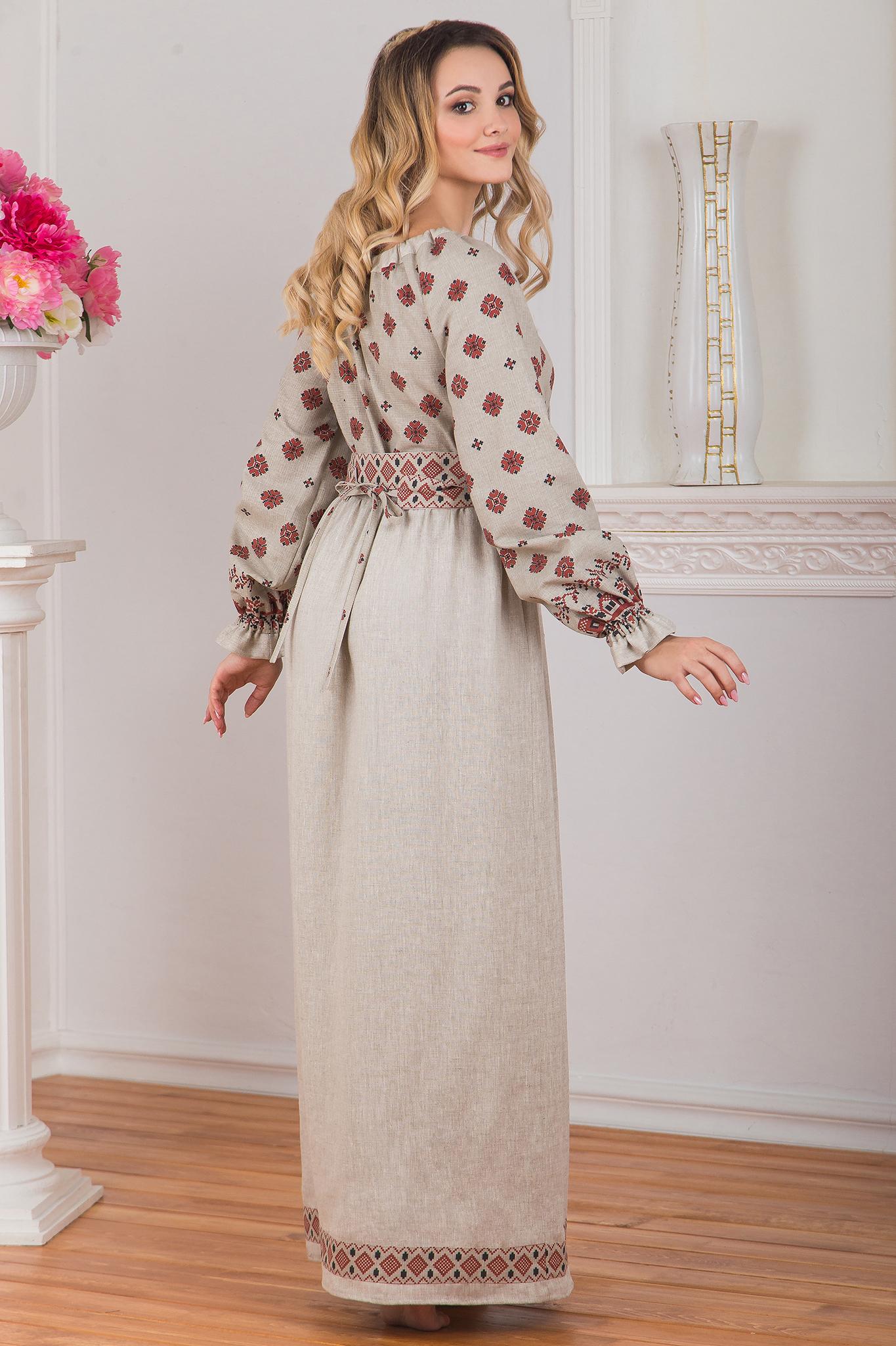 Платье традиционное Льняное поле вид сзади