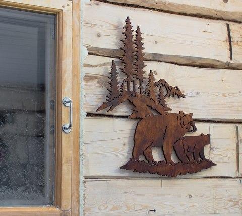 Панно из дерева, на стену Медведи