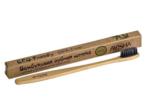 Бамбуковая зубная щетка с угольной щетиной мягкая AASHA