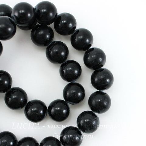 Бусина Жадеит (тониров), шарик, цвет - черный, 10 мм, нить
