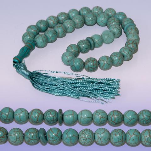 Чётки Бирюза, натуральный камень, 10 мм 33 бусины