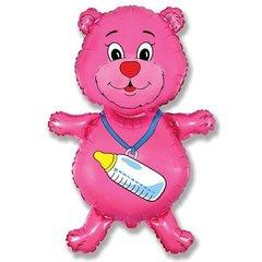 Фигурный шарик из фольги Медвежонок с бутылочкой розовый