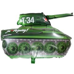 Фольгированный воздушный шар Танк T-34. Зеленый.