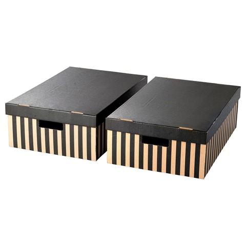 ПИНГЛА Коробка с крышкой черный, естественный