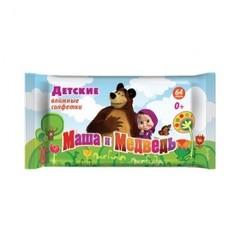 Салфетки детские Маша и Медведь влажные 0+ 64 штук в упаковке