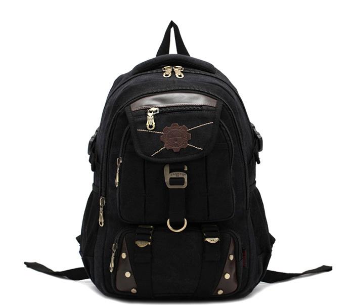 BAG388-1 Мужской повседневный рюкзак черного цвета из прочной ткани фото 02