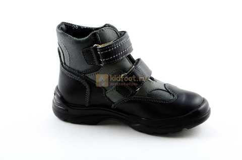 Ботинки Тотто из натуральной кожи демисезонные на байке для мальчиков, цвет черный. Изображение 2 из 11.