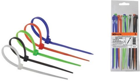 Хомуты 2,5х150 цветные набор  5 цветов (черный, белый, красный, синий, зеленый) (25 штук) TDM