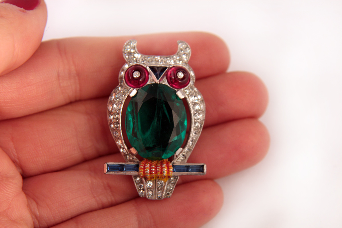"Стильная брошь ""Сова"" от Trifari, 1941 год. book piece 